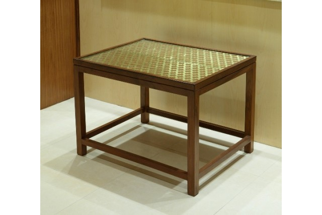 BRASS JALI WOODEN  TABLE