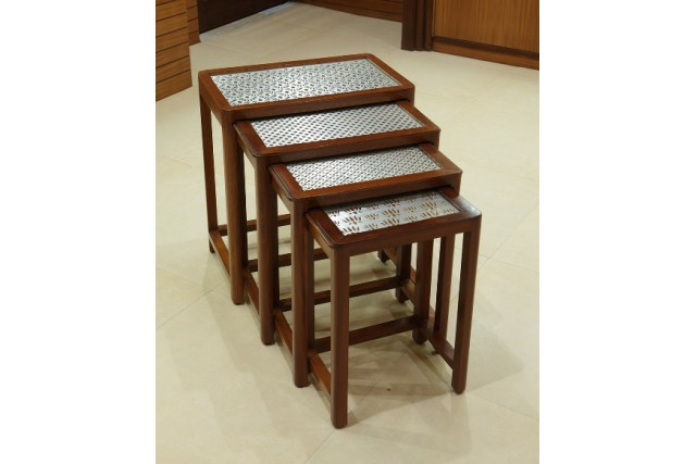 SILVER PLATED JALI WOODEN NESTING TABLE