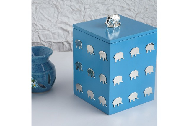 SILVER PLATED ELEPHANT & WOODEN BABY BOX