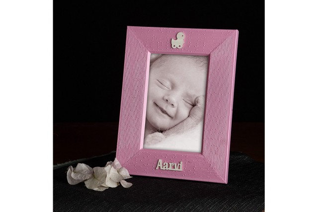 SILVER PLATED BABY WOODEN FRAME