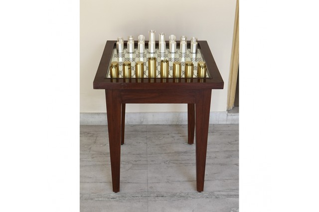 SILVER PLATED CHESS TABLE