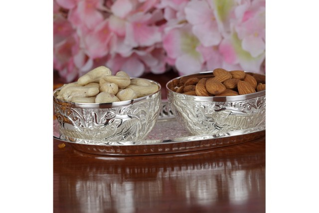 SILVER PLATED BOWL SET & TRAY